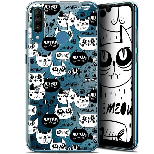 "Extra Slim Gel Wiko View 3 (6.26"") Case Design Chat Noir Chat Blanc"