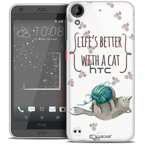 Extra Slim Crystal Gel HTC Desire 530/630 Case Quote Life's Better With a Cat