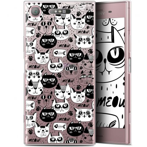 "Extra Slim Gel Sony Xperia XZ1 (5.2"") Case Design Chat Noir Chat Blanc"