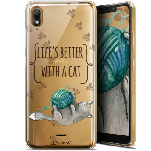 "Extra Slim Gel Wiko View 2 GO (5.93"") Case Quote Life's Better With a Cat"