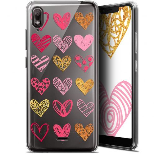 "Extra Slim Gel Wiko View 2 GO (5.93"") Case Sweetie Doodling Hearts"