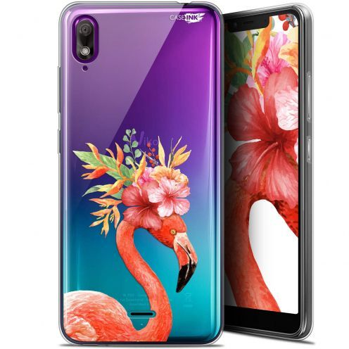 "Extra Slim Gel Wiko View 2 GO (5.93"") Case Design Flamant Rose Fleuri"
