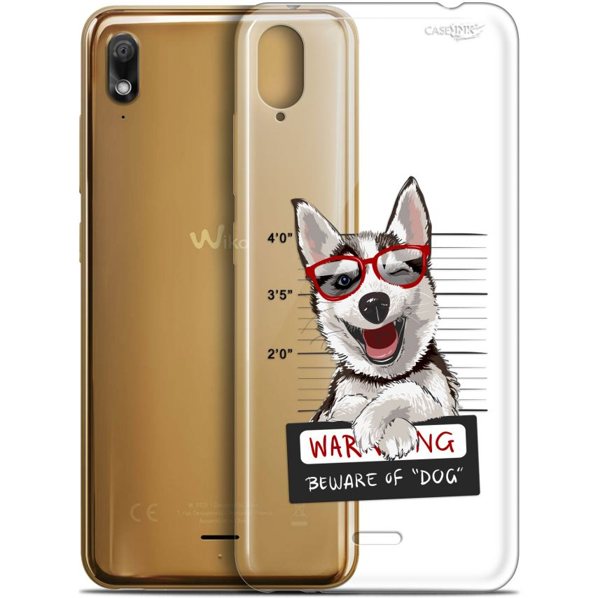 "Extra Slim Gel Wiko View 2 GO (5.93"") Case Design Beware The Husky Dog"