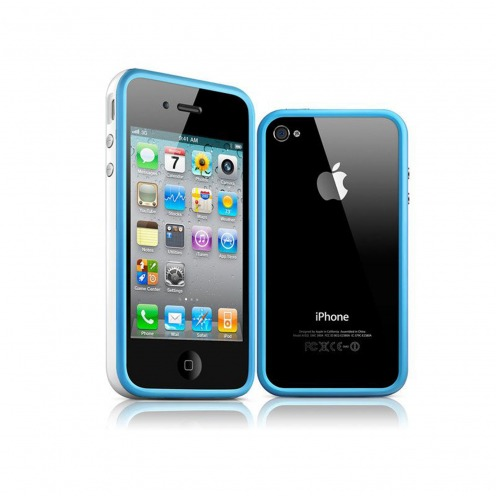 Bumper HQ blue / white for iPhone 4 S / 4