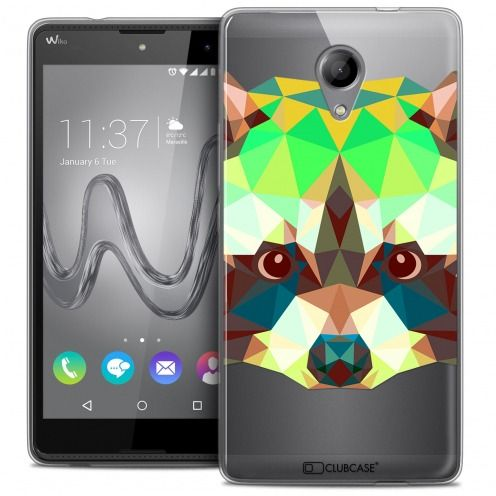 Extra Slim Crystal Gel Wiko Robby Case Polygon Animals Racoon