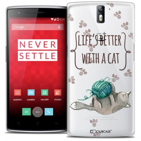 Extra Slim Crystal Rigide OnePlus One Case Quote Life's Better With a Cat
