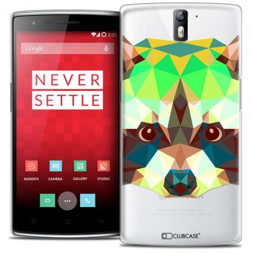 Extra Slim Crystal Rigide OnePlus One Case Polygon Animals Racoon