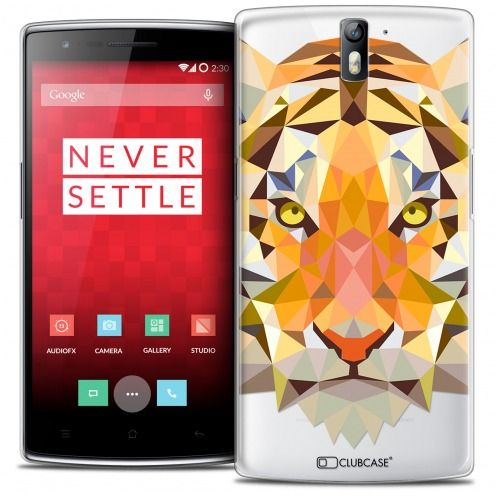 Extra Slim Crystal Rigide OnePlus One Case Polygon Animals Tiger
