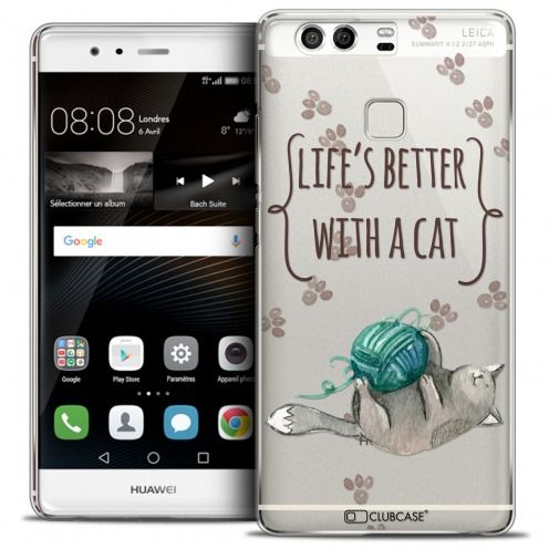 Extra Slim Crystal Rigide Huawei P9 Case Quote Life's Better With a Cat