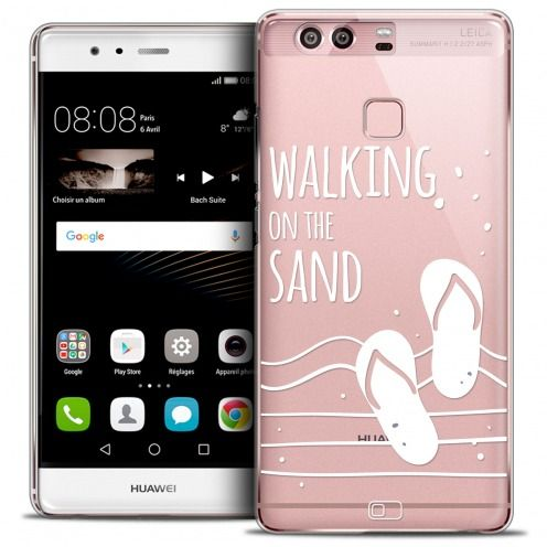 Extra Slim Crystal Rigide Huawei P9 Case Summer Walking on the Sand