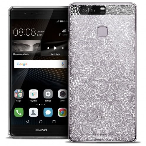 Extra Slim Crystal Rigide Huawei P9 Case Floral Lace Collection - White