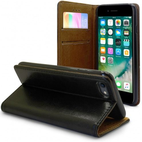 "Folio Wallet Flexi Case for Apple iPhone 7 (4.7"") Genuine Italian Leather Black"