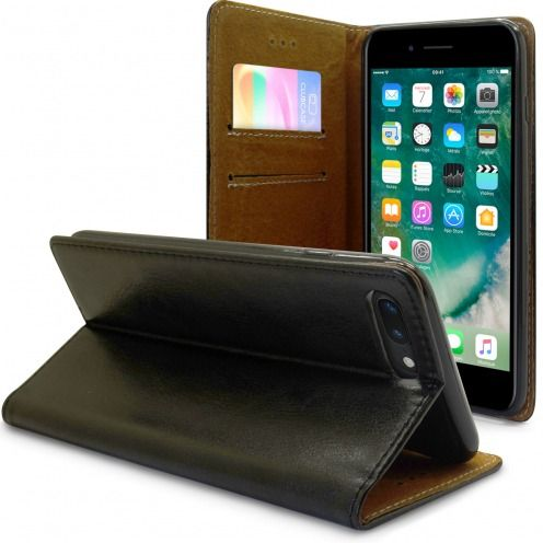 "Folio Wallet Flexi Case for Apple iPhone 7 Plus (5.5"") Genuine Italian Leather Black"