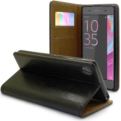 Folio Wallet Flexi Case for Sony Xperia XA Genuine Italian Leather Black