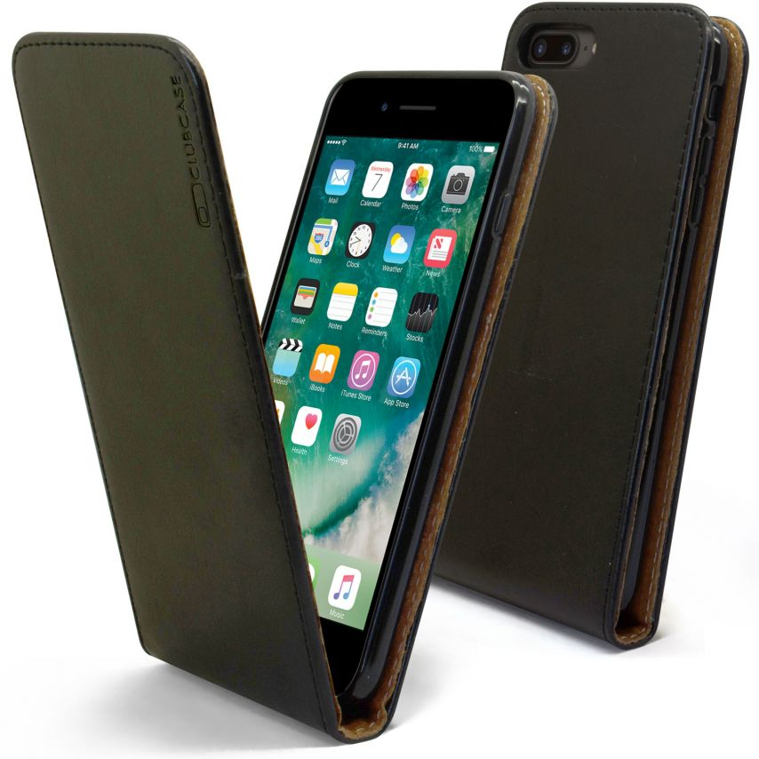 "Clamshell Flip Flexi Case for Apple iPhone 7 Plus (5.5"") Genuine Italian Leather Black"