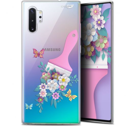 "Extra Slim Gel Samsung Galaxy Note 10+ / Plus (6.8"") Case Design Pinceau à Fleurs"