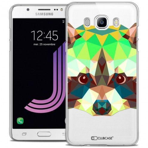 Extra Slim Crystal Galaxy J7 2016 (J710) Case Polygon Animals Racoon