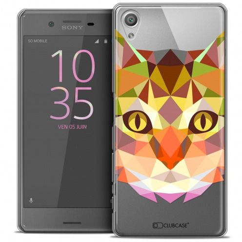 Extra Slim Crystal Xperia X Case Polygon Animals Cat
