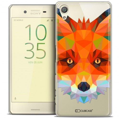 Extra Slim Crystal Xperia X Case Polygon Animals Fox