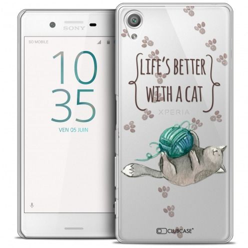 Extra Slim Crystal Xperia X Case Quote Life's Better With a Cat