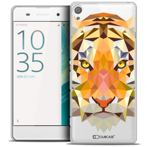 Extra Slim Crystal Xperia XA Case Polygon Animals Tiger