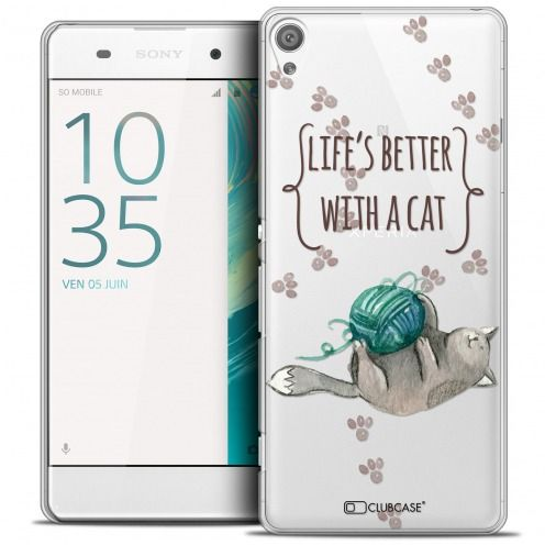 Extra Slim Crystal Xperia XA Case Quote Life's Better With a Cat
