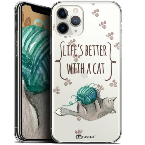 """Extra Slim Gel Apple iPhone 11 Pro Max (6.5"""") Case Quote Life's Better With a Cat"""