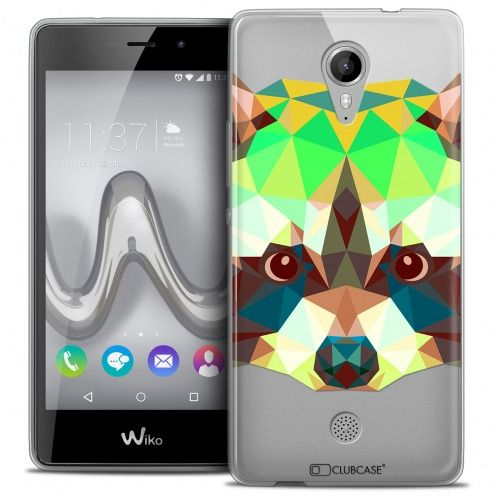Extra Slim Crystal Gel Wiko Tommy Case Polygon Animals Racoon