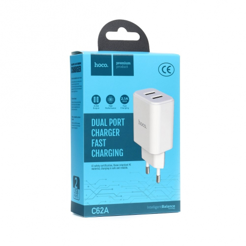 HOCO travel charger C62A Victoria dual port charger(EU) white