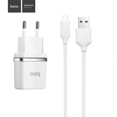 HOCO travel charger smart USB + Micro cable 1A C11 white