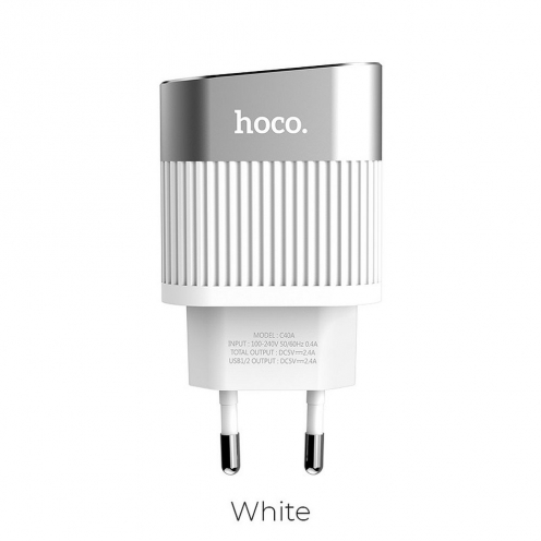 HOCO travel charger Speedmaster Dual Port Charger 2,4A C40A white