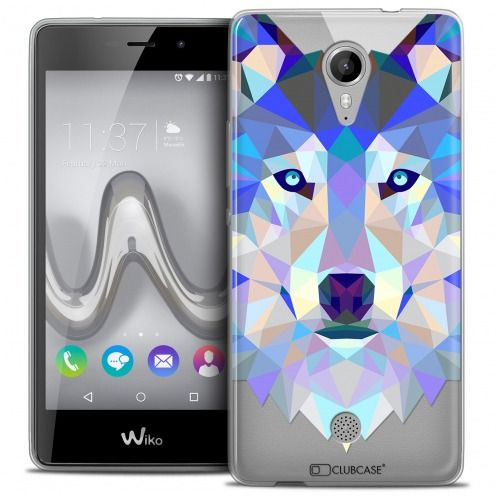 Extra Slim Crystal Gel Wiko Tommy Case Polygon Animals Wolf