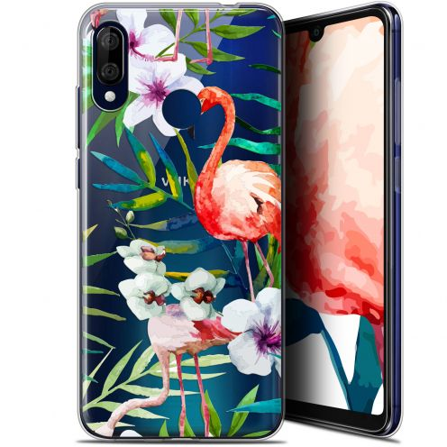 "Extra Slim Gel Wiko View 3 LITE (6.09"") Case Watercolor Tropical Flamingo"