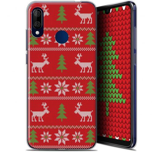 """Extra Slim Gel Wiko View 3 LITE (6.09"""") Case Noël 2017 Couture Rouge"""