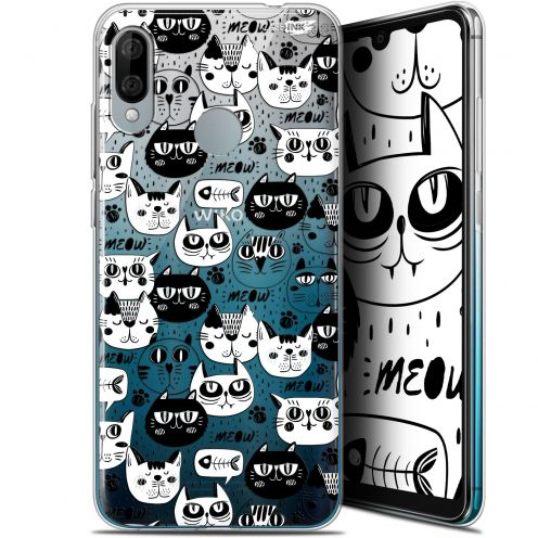 "Extra Slim Gel Wiko View 3 LITE (6.09"") Case Design Chat Noir Chat Blanc"