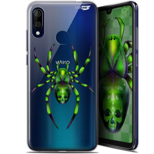 "Extra Slim Gel Wiko View 3 LITE (6.09"") Case Design Arraignée Verte"