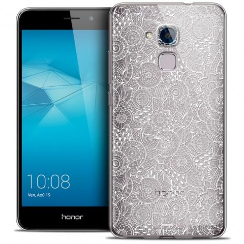 Extra Slim Crystal Gel Huawei Honor 5C Case Floral Lace Collection - White