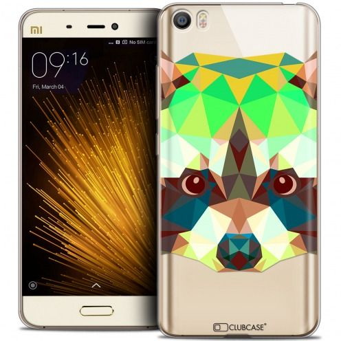 Extra Slim Crystal Gel Xiaomi Mi 5 Case Polygon Animals Racoon