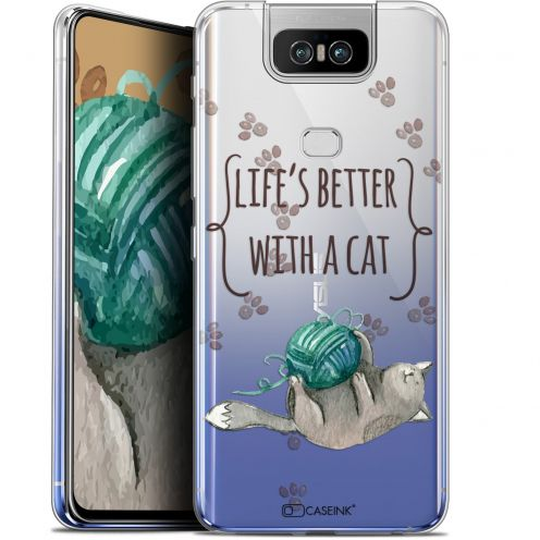 "Extra Slim Gel Asus Zenfone 6 ZS630KL (6.4"") Case Quote Life's Better With a Cat"