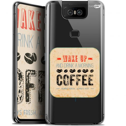 "Extra Slim Gel Asus Zenfone 6 ZS630KL (6.4"") Case Design Wake Up With Coffee"