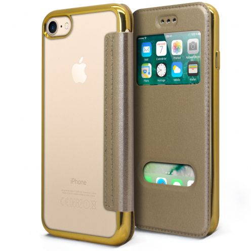Apple iPhone 7 (4.7) Flip Folio Gel Case - WindowView - Gold Metallized