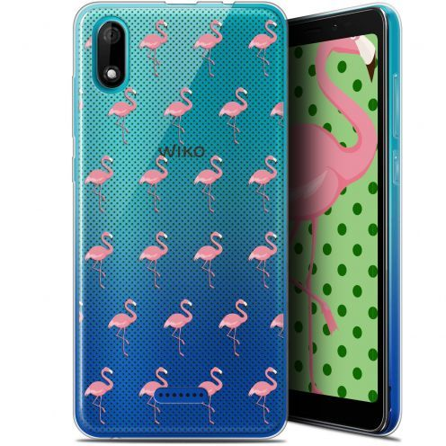 """Extra Slim Gel Wiko Y60 (5.45"""") Case Pattern Les flamants Roses Dots"""
