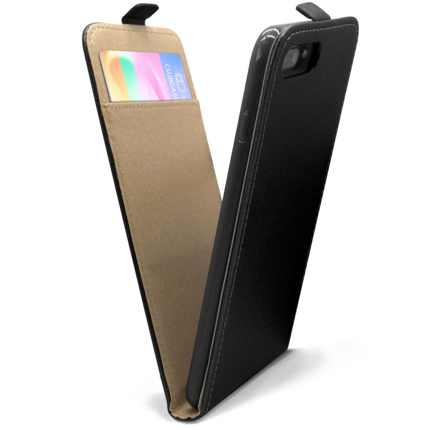 Clamshell Flip Flexi Case for Apple iPhone 7 Plus (5.5) Eco Leather Black