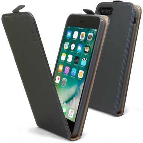 Clamshell Flip Flexi Case for Apple iPhone 7/8 Plus (5.5) Eco Leather Graphite