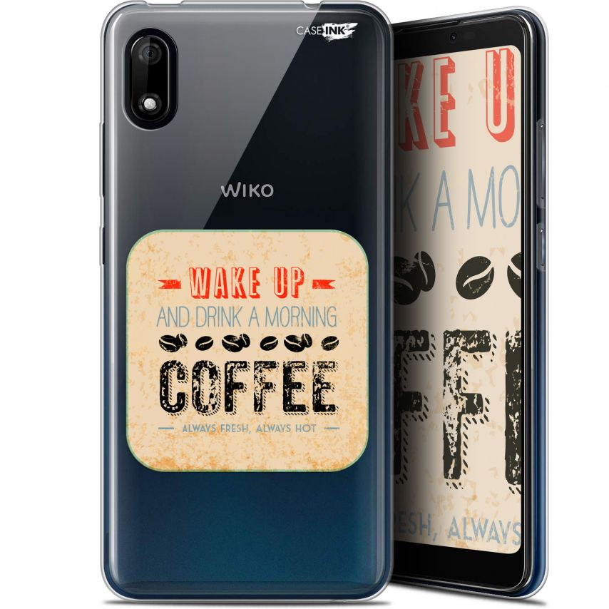 "Extra Slim Gel Wiko Y70 (5.99"") Case Design Wake Up With Coffee"