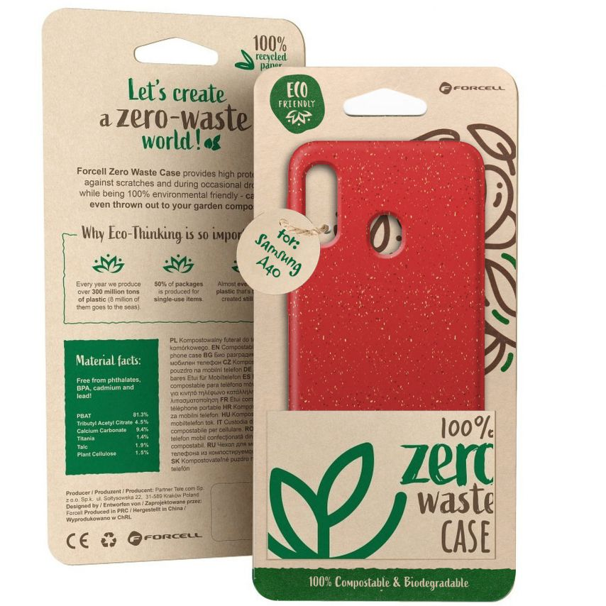 Biodegradable ZERO Waste case for Samsung Galaxy A40 red