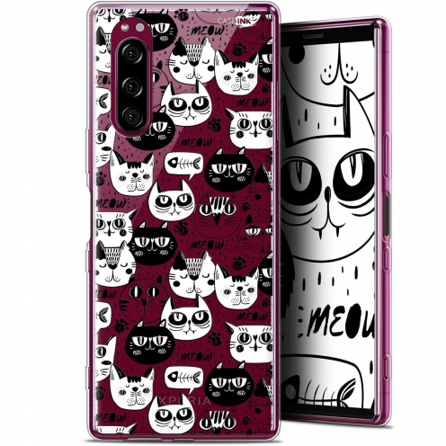 """Extra Slim Gel Sony Xperia 5 (6.1"""") Case Design Chat Noir Chat Blanc"""