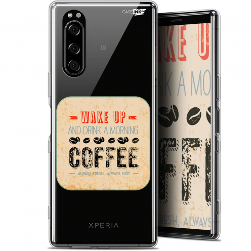 "Extra Slim Gel Sony Xperia 5 (6.1"") Case Design Wake Up With Coffee"