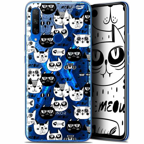 "Extra Slim Gel Huawei Honor 9X (6.59"") Case Design Chat Noir Chat Blanc"