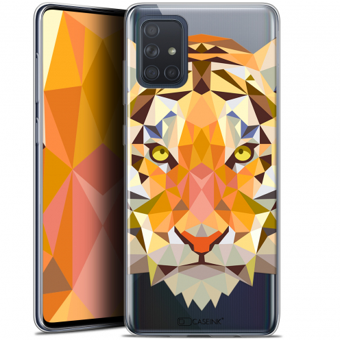 "Extra Slim Gel Samsung Galaxy A71 (A715) (6.7"") Case Polygon Animals Tiger"